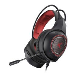 Gaming headset med mikrofon Drakkar USB LED Sort Rød